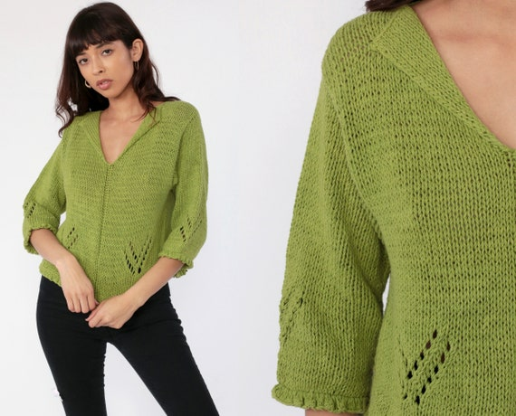 Crochet Knit Top Shirt Olive Green Sweater Top 90s Bohemian Cotton Cutout Blouse Knit Sweater Top Vintage 80s Boho 3/4 Sleeve Small