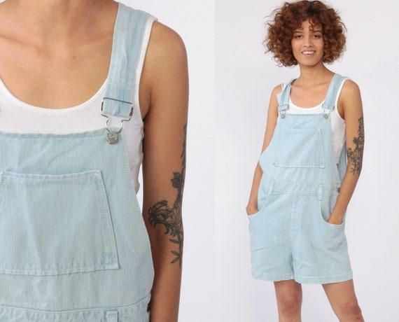 Overall Shortalls 90s Grunge Jean Bib Suspender Light Blue Dungarees Summer Cotton Retro Vintage 1990s Streetwear Small