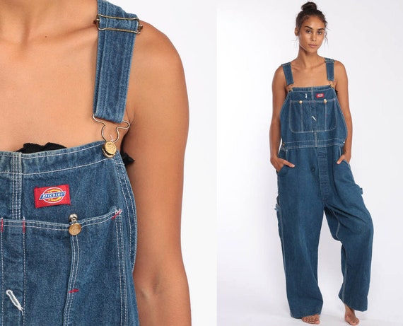 90s Dickies Overalls -- 1990s Denim Bib Overalls BUTTON FLY Baggy Dungarees Long Jean Pants Grunge Pants Suspender Hipster Carpenter Large