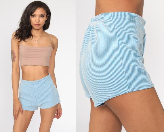 Blue Striped Shorts -- High Waisted Shorts 70s Shorts Elastic Waist Hotpants 1970s Polyester Short Small S