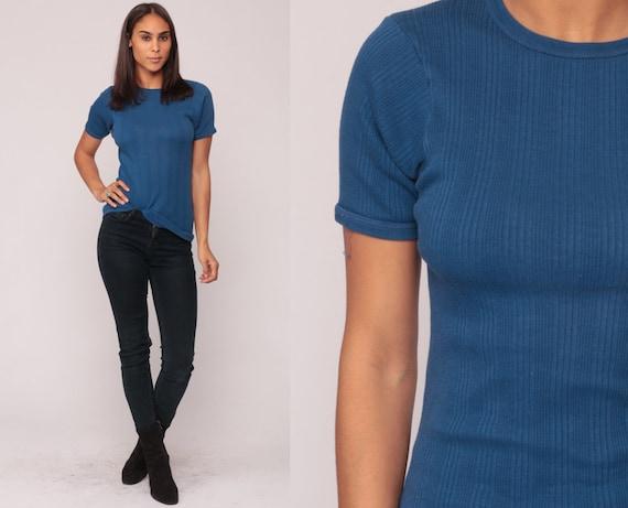 Navy Tshirt Vintage Plain Shirt STRIPED Tee Shirt 80s Dark Blue Soft T Shirt Normcore Tshirt 1980s Simple Ribbed Tight Extra Small xs