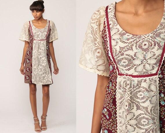 c51e846a3d Prairie Dress 70s LACE Floral Mini Babydoll Flutter Sleeve
