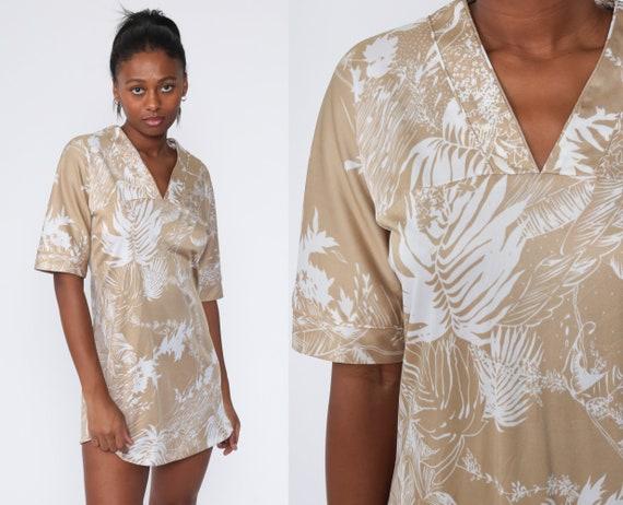 70s Mini Dress Shift Mod Leaf Dress Tropical Dress Palm Jungle Gogo Short Sleeve Minidress Hippie Boho Vintage 1970s Twiggy Tan Medium Large