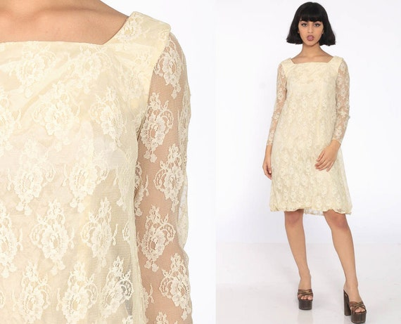 Mod Lace Dress 60s Mini Cream Party Cocktail 1960s Boho Hippie Wedding Vintage Shift Bow Back Sheer Long Sleeve Extra Small xs s