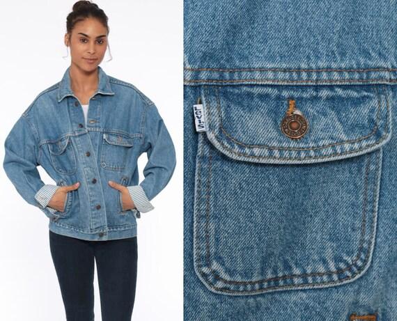 80s Levis Denim Jacket STRIPED LINING Levi Strauss Trucker Jean Jacket Blue Levi Coat 1980s Vintage Retro Grunge Biker Oversize Medium