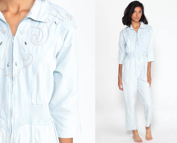 Chambray Jumpsuit TAPERED Pants 90s Pantsuit Soutache Vintage Long Sleeve Romper 80s High Waisted Retro Front Zip Up Small Medium