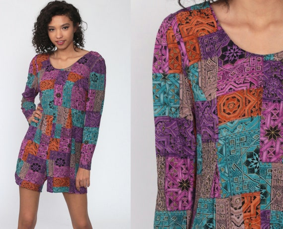 90s Playsuit Purple Patchwork Grunge Romper Outfit One Piece Woman Geometric Wide Leg 1990s Mini Dress Long Sleeve Small