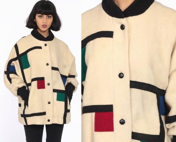 Color Block Jacket 80s Wool Coat Piet Mondrian Jacket 70s Cream Geometric Winter Jacket Mod Large