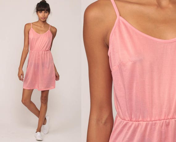 Pink Mini Dress 80s Sundress Boho SHEER Vintage 1980s Bohemian Sun Spaghetti Strap High Waist Summer Retro Medium