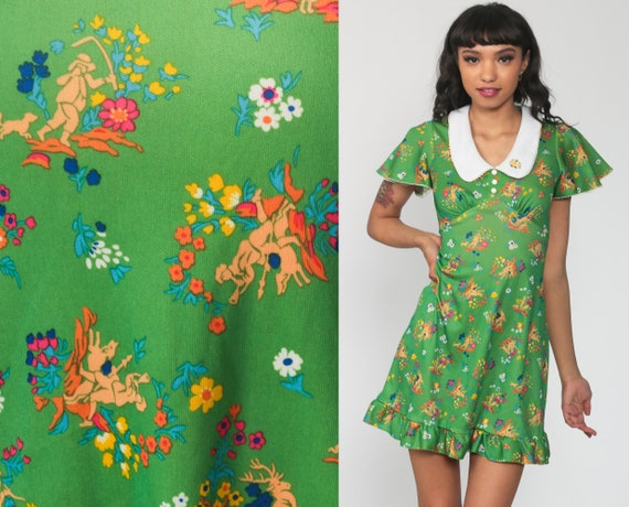 60s Babydoll Dress -- Novelty Print Peter Pan Collar Mod Mini Floral Flutter Sleeve Green 70s Hippie Vintage Empire Waist Extra Small xs