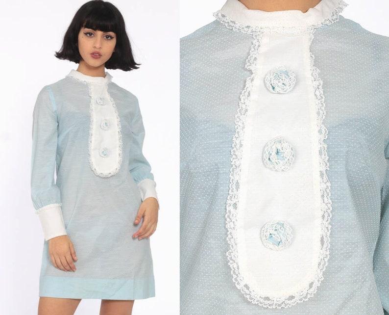 4034809e57971 Mod Mini Dress 60s Pastel Bib Twiggy Party Cocktail Powder | Etsy