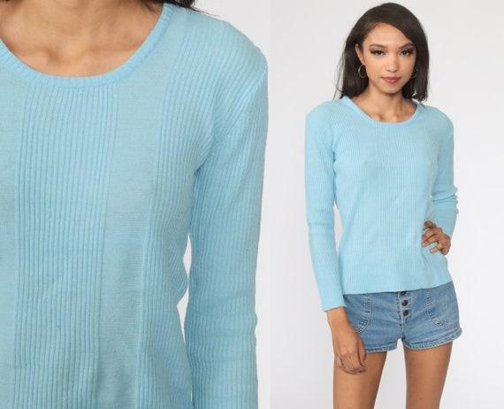 Knit Long Sleeve Shirt Baby Blue Shirt 80s T Shirt