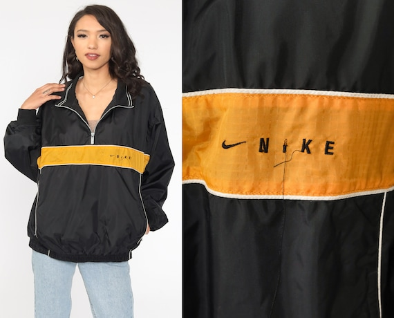 Nike Windbreaker Jacket Black Yellow Half Zip Pullover Streetwear Jacket Nylon Shell Jacket Vintage Sports Warmup Large L