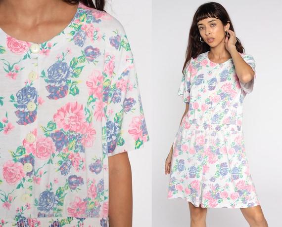 80s Floral Romper White One Piece Pink Print Jumpsuit High Waist Pocket Button Up 1980s Vintage Playsuit Short Sleeve Large