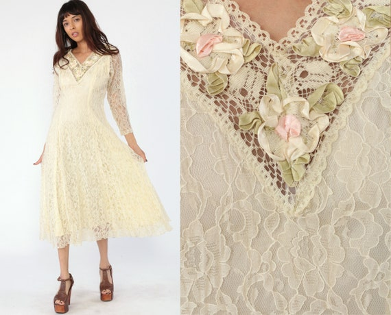 Cream Lace Dress 80s Party Wedding Dress Long Sheer Sleeve Romantic V Neck Midi Cocktail 1980s Bohemian Vintage Formal Small 6