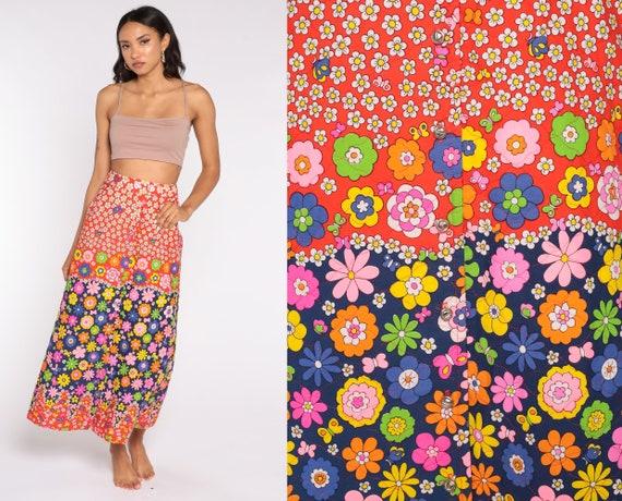 60s Flower Power Skirt Floral Bohemian Skirt Maxi 70s Long PSYCHEDELIC Skirt High Waist Hippie 1970s Boho Vintage Bohemian Small S