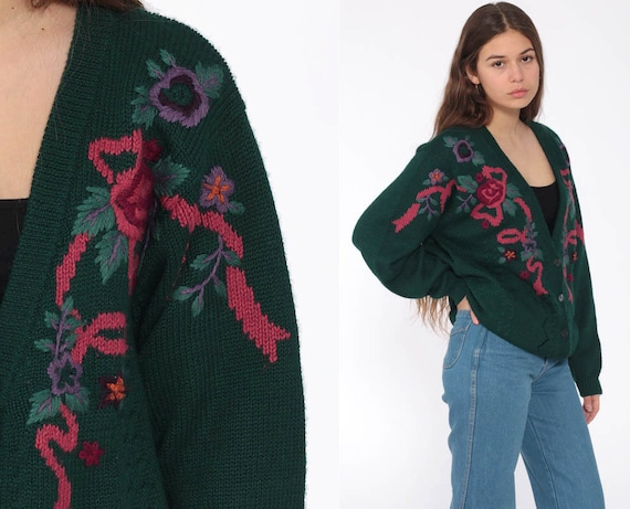Embroidered Floral Sweater 80s Cardigan Dark Green Pointelle Knit Wool Grandma Boho Button Up 1980s Bohemian Pink Vintage Retro Large