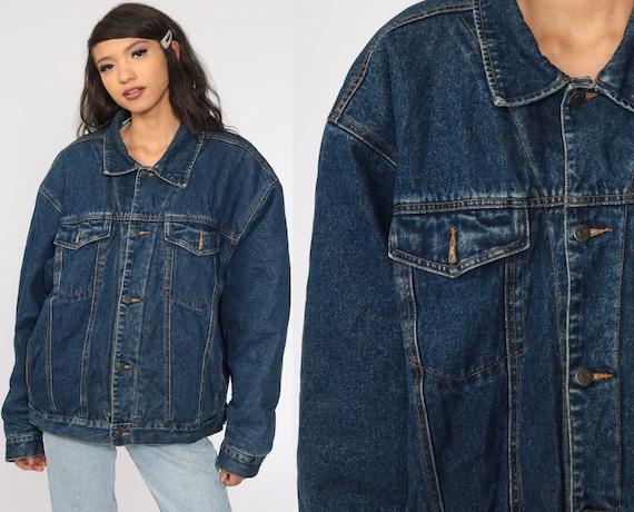 80s Denim Shearling Jacket Denim Sherpa Jacket 90s  Jean Jacket 1980s Oversized Trucker Biker Coat Blue Vintage 90s Fleece Large xl l