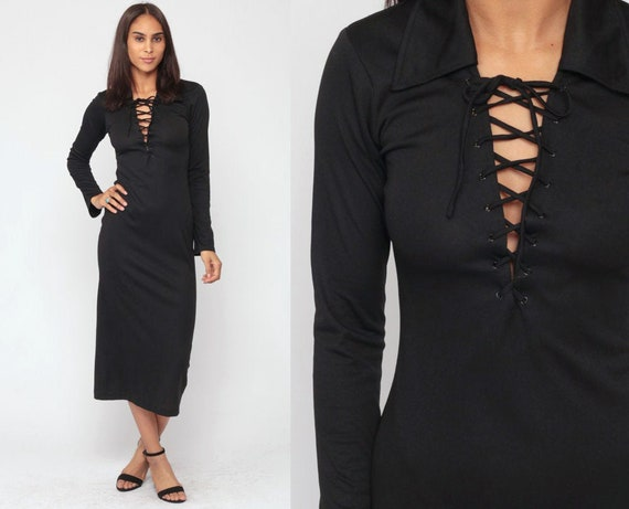 Black Dress 70s Midi CORSET Lace Up Boho Goth V Neck Plain Party 1970s Gothic Deep V Neck Sheath Long Sleeve Bohemian Vintage Small 4