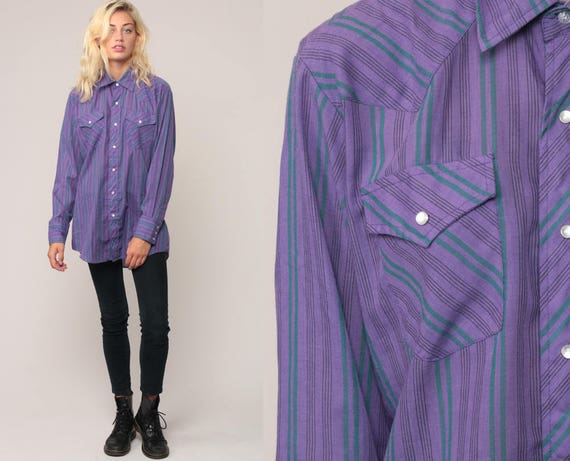Western Shirt 80s PEARL SNAP Striped Purple Long Sleeve 1980s Button Up Hipster Vintage Top Medium