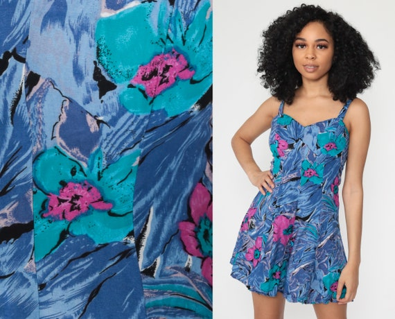 Floral Romper Dress Sweetheart Neckline Playsuit 80s Mini Dress Sleeveless One Piece Blue Skort 90s Summer Retro Tropical Extra Small xs