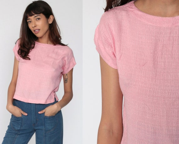 Pink Blouse 80s Indian Slouchy Shirt Cap Sleeve Blouse Baby Pink Top Plain Tshirt 80s T Shirt Slouch 1980s Retro Tee Rayon Vintage Small xs