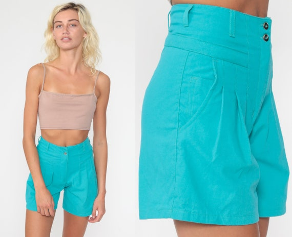 Pleated Turquoise Shorts 2xs 90s Mom Shorts High Waisted Retro Trouser Blue 1990s Cotton Vintage High Waist Women's Extra Small xs xxs