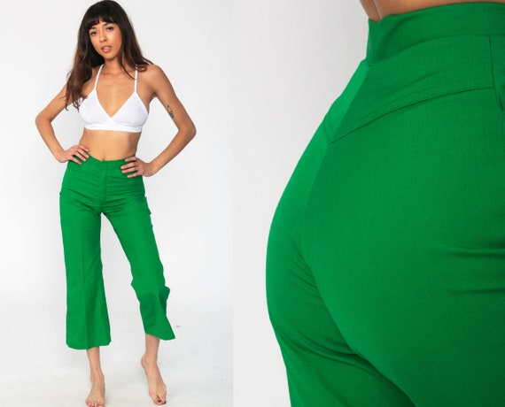 BELL BOTTOM Pants 70s Green High Waisted Trousers Boho Flared Cotton 1970s High Waist Hippie Vintage Bohemian Extra Small xs Short