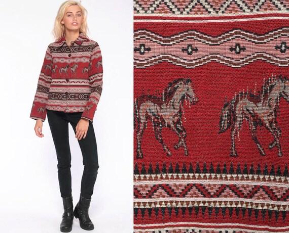 Horse Tapestry Jacket -- 90s Boho Jacket Red Southwestern Bohemian Hippie Animal Print Coat 1990s Vintage Southwest Tribal Jacket Medium