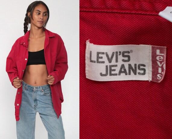 LEVIS Shirt Red 90s Button Down Shirt up Levi Jea… - image 1