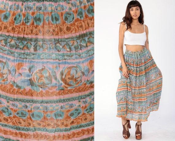Broomstick Maxi Skirt Boho Hippie Watercolor Print Gauze Skirt 90s Maxi Bohemian Vintage Gypsy Festival 1990s Vintage Retro Medium