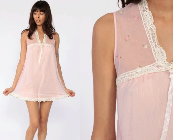 Sheer Pink Nightgown Lingerie Slip Dress Babydoll Mini 70s Nightie Baby Pink Boho Lace Vintage Tent Bohemian Extra Small XS