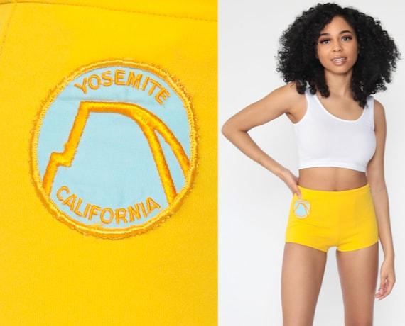 Yosemite Patch Shorts 70s Yellow Hot Pant Shorts California High Waist Shorts High Rise Hotpants Bohemian Vintage 1970s Extra Small xs