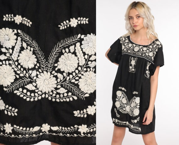 Black Mexican Dress Embroidered Dress Mini Boho Cotton Tunic Hippie Floral Ethnic Bohemian Vintage Embroidery Traditional Medium