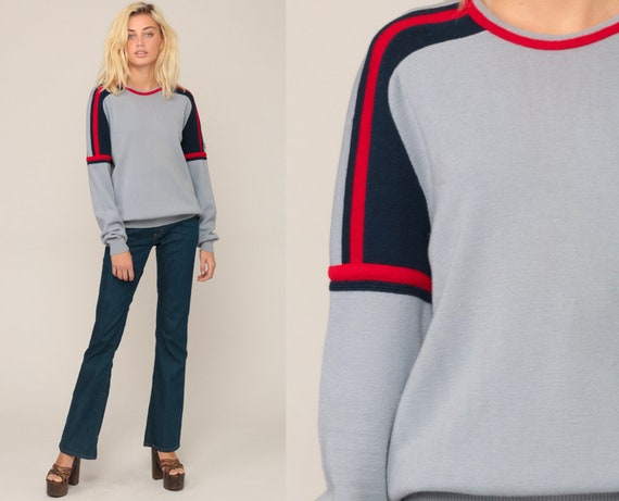 Striped Sweater 80s WOOL Sweater Grey Knit Red Blue Grunge Oversized Slouch Hipster 1980s Jumper Vintage Pullover Retro Extra Large xl