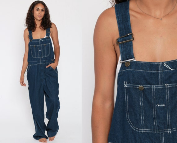 Bib Overalls Dark Blue Denim Overalls Pants Jeans 90s Grunge Pants Wide Leg Baggy Blue Long Dungarees Vintage Sears Roebucks Medium