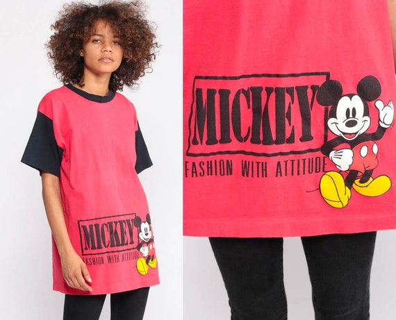 Mickey Mouse Shirt FASHION WITH ATTITUDE Walt Disney T Shirt 90s Graphic Cartoon T Shirt Vintage Retro Tee 1990s Red Medium