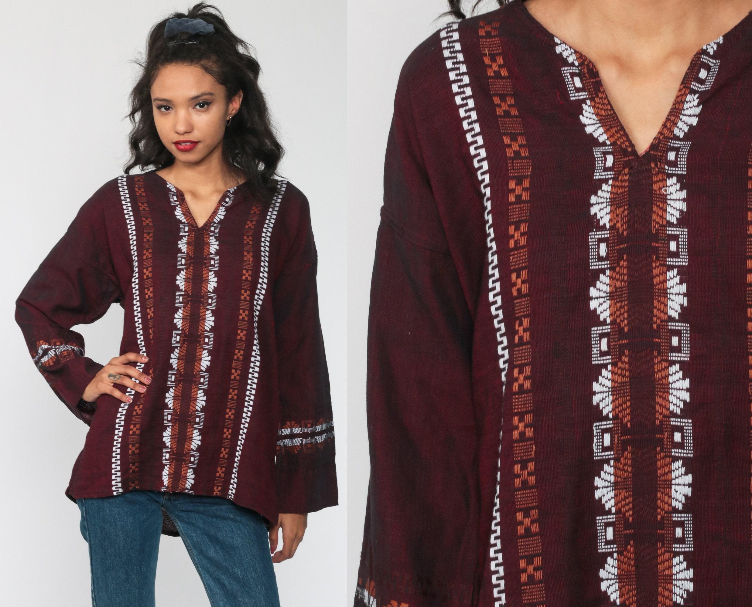 Ethnic embroidery top  Vintage black ethnic longsleeve top  boho  hippie blouse