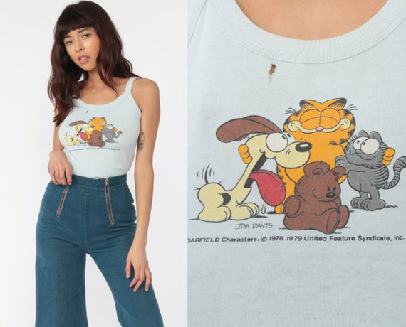 Garfield Tank Top Cat Tshirt Odie Cartoon Comic Shirt 80s Graphic Spaghetti Strap Camisole Vintage Retro T Shirt Summer Top Extra Small xs