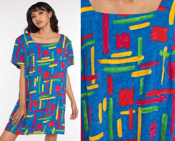 Geometric Mini Dress 2xl -- 80s Dress Blue Brushstroke Dress Striped Short Sleeve Vintage Shift Minidress Extra Large xxl