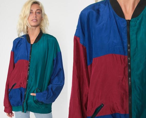 Silk Color Block Jacket 80s Windbreaker Jacket Teal Red Blue Retro Kawaii Bomber Jacket Vintage 90s Preppy Extra Large xl l