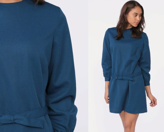 Belted Shift Dress -- 60s Mod Mini With Belt 1960s Shift Navy Blue Mini 70s Space Age Plain Polyester Vintage Long Sleeve Large