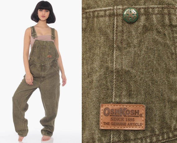 90s Osh Kosh Overalls OshKosh Jeans Bib Overalls Cargo Olive Green Vintage Denim Grunge Pants Baggy Long Dungarees Coveralls Small