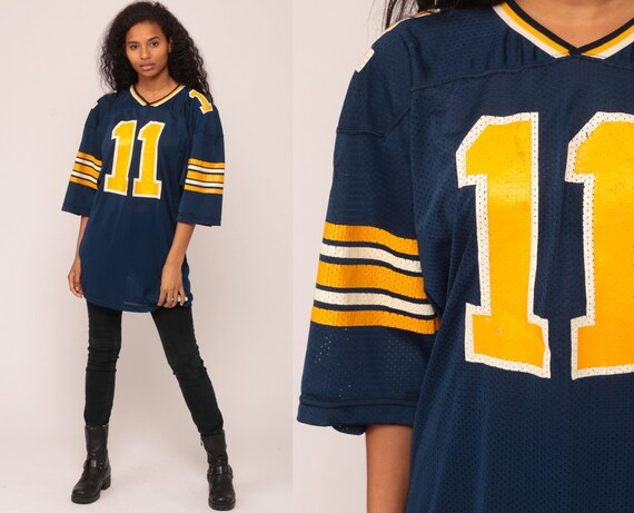 Football Jersey NFL Shirt MICHIGAN WOLVERINES Shirt Numbered 11 Sports 90s Streetwear Athletic Urban Blue Vintage 1990s Extra Large xl