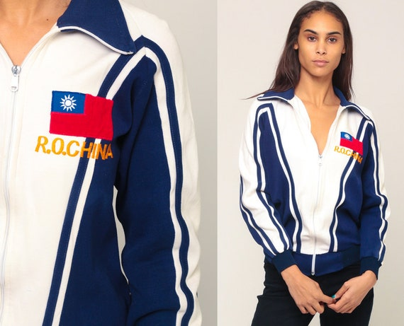 Retro Track Jacket ROC China Jacket Throwback Republic of China Zip Up Sweatshirt 70s Jacket Blue Retro Vintage Tracksuit Small Medium