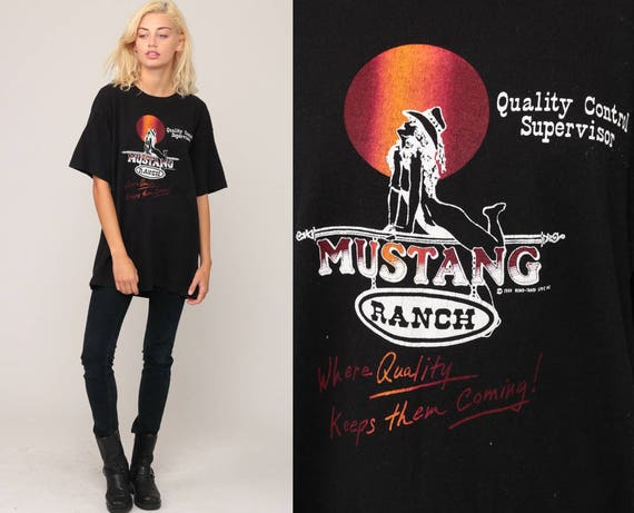 Mustang Ranch Shirt PINUP GIRL TShirt 80s Retro T Shirt Pin Up Girl Print Vintage Graphic Tee Black Extra Large xl