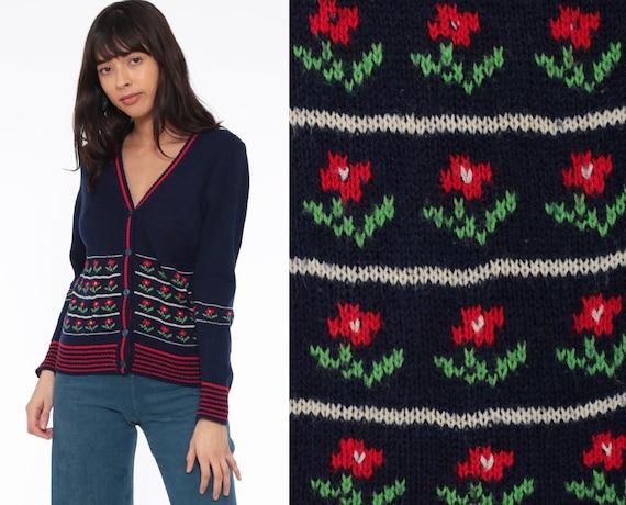 70s Floral Cardigan Sweater Navy Blue Grandma Boho Button Up 80s Bohemian Vintage Retro Medium