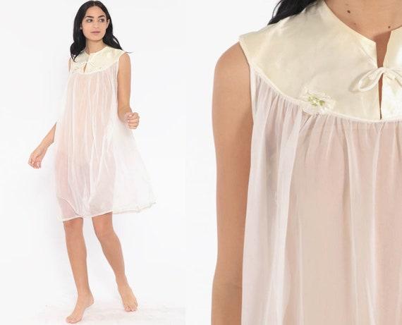 Sheer Nightgown White Lingerie Babydoll Mini 70s Nightie FLOATY Slip Dress Nylon Nightie Boho Vintage Tent Bohemian Small Medium
