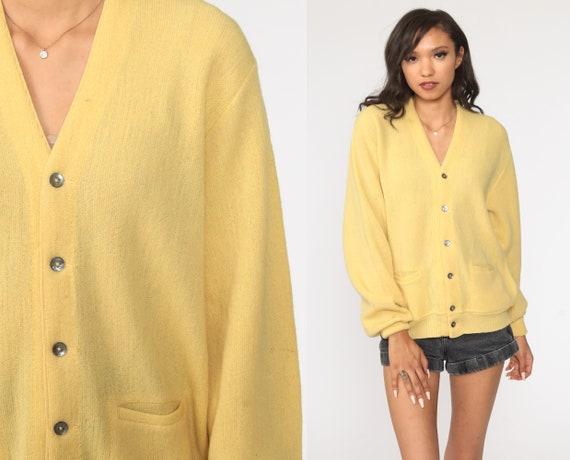 Yellow Wool Cardigan Grandpa Cardigan Sweater Plain Button Up 80s Grunge Slouchy Knit Vintage Medium Large