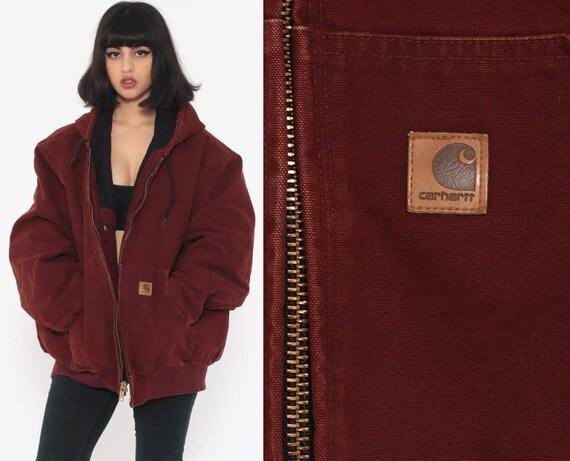 Hooded Carhartt Jacket Brown Hoodie Workwear Cargo Brown Jacket Hood Coat Grunge Vintage Hipster Work Wear Extra Large xl 2xl xxl